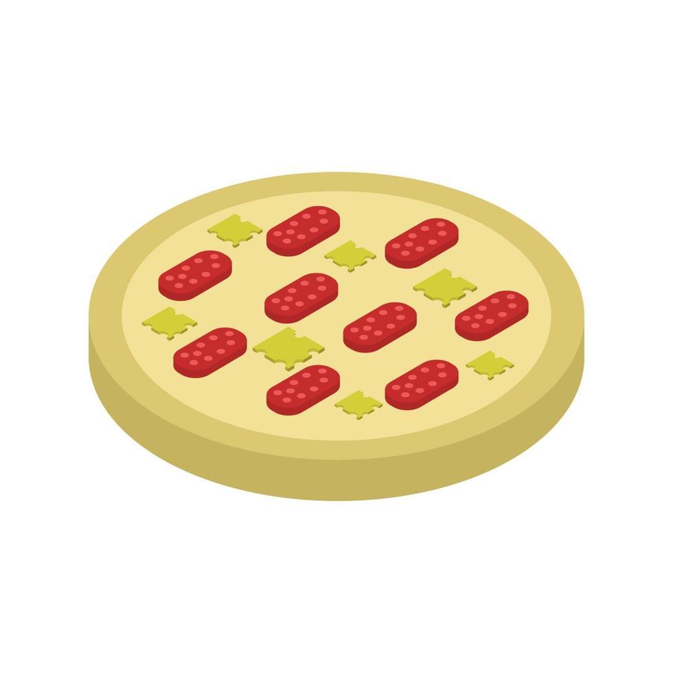 isometrische pizza op witte achtergrond vector