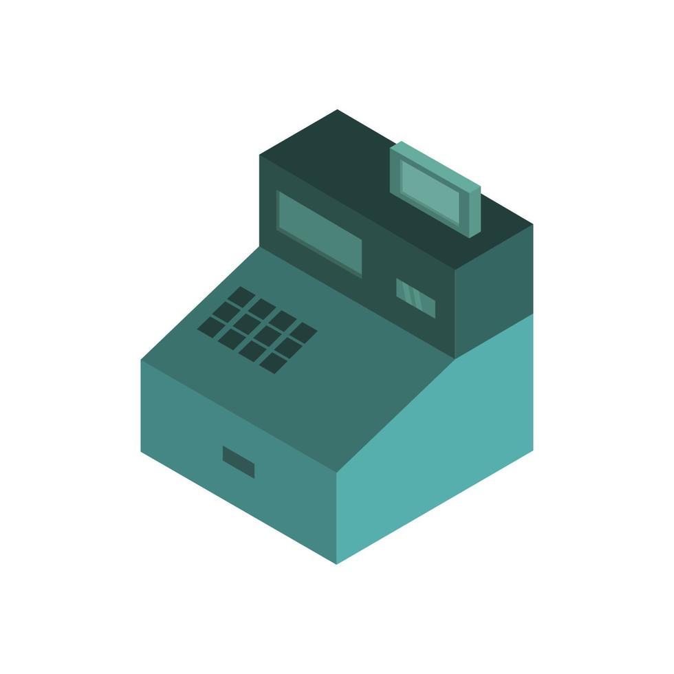 kassa isometrisch geïllustreerd op witte achtergrond vector