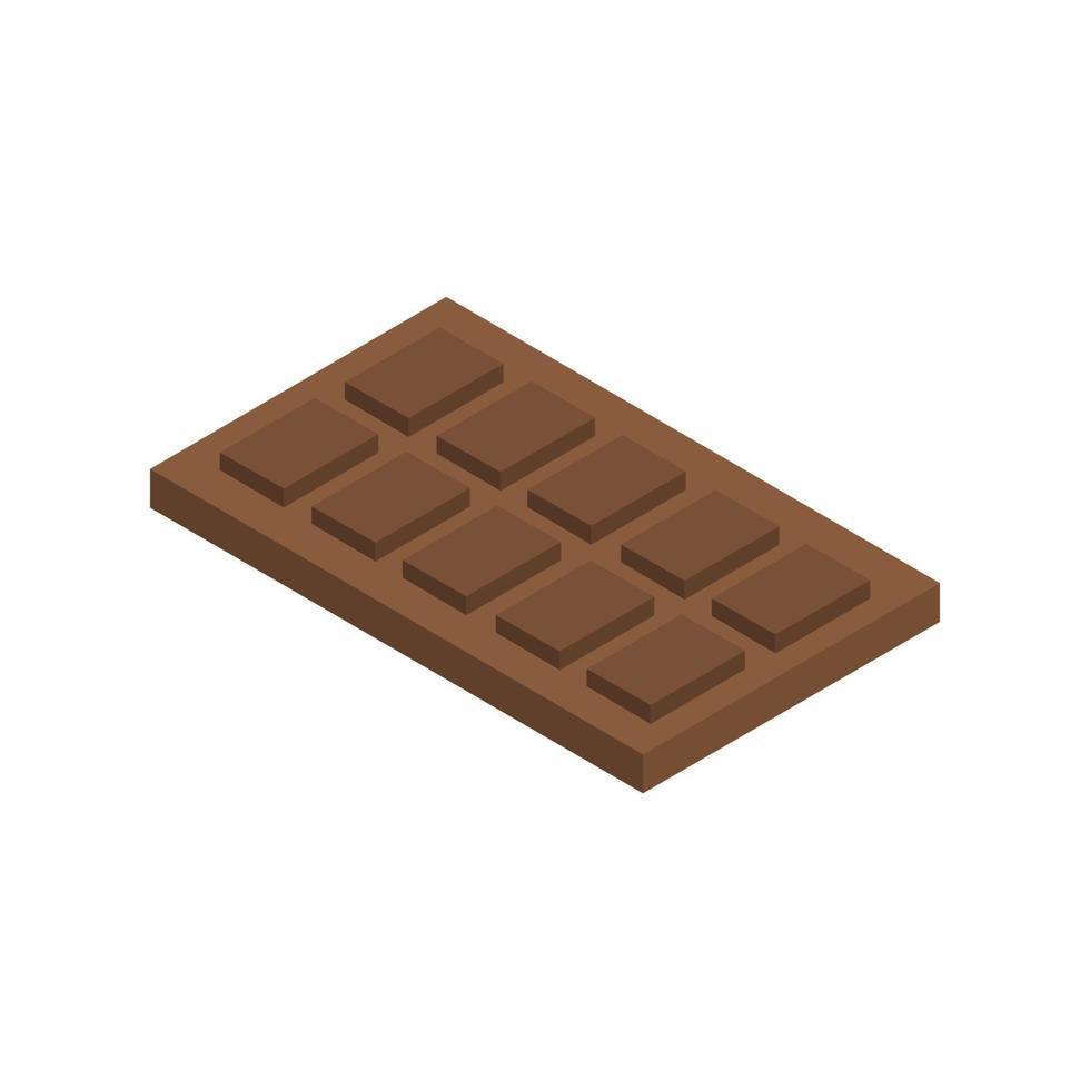 isometrische chocolade op witte achtergrond vector