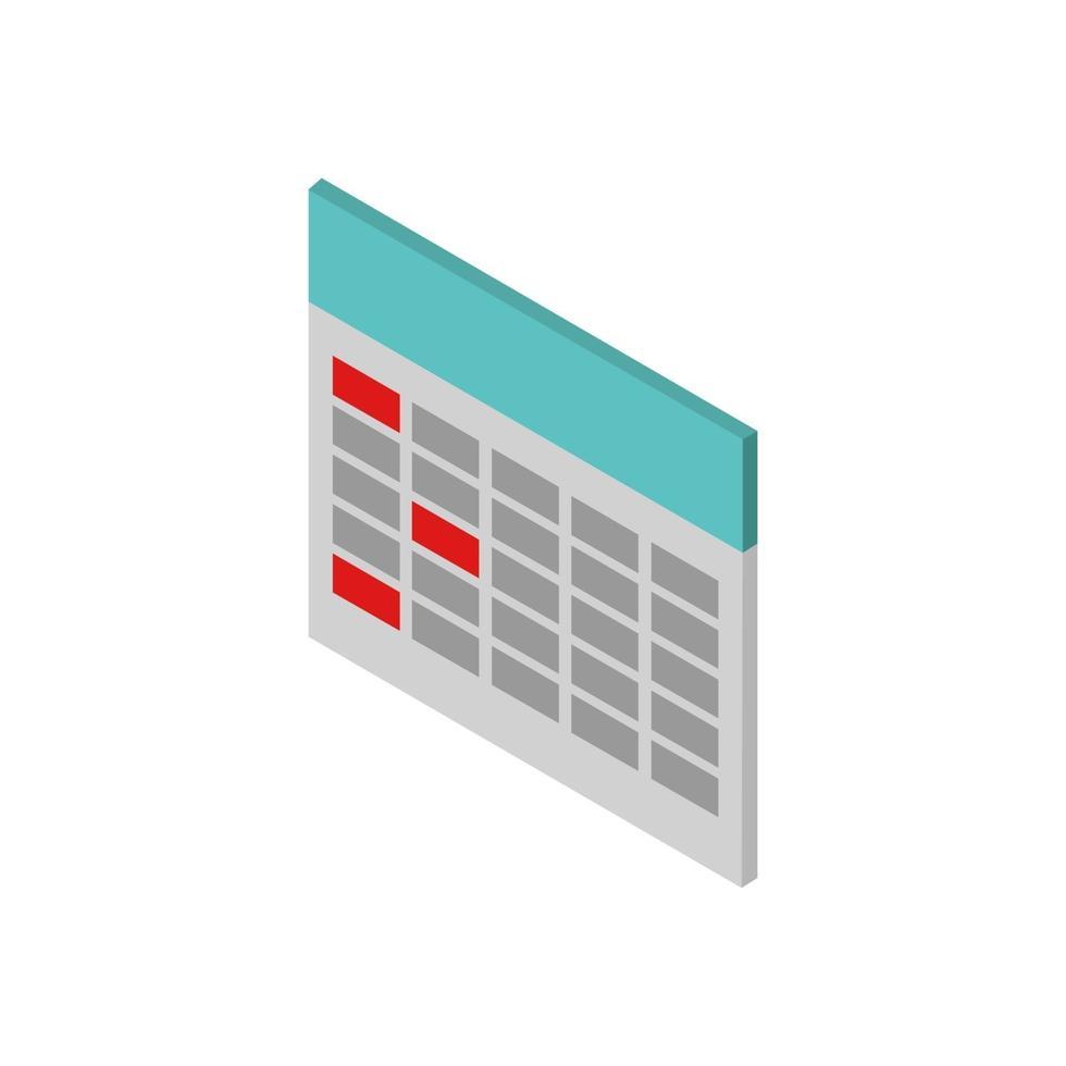 isometrische kalender geïllustreerd op witte achtergrond vector