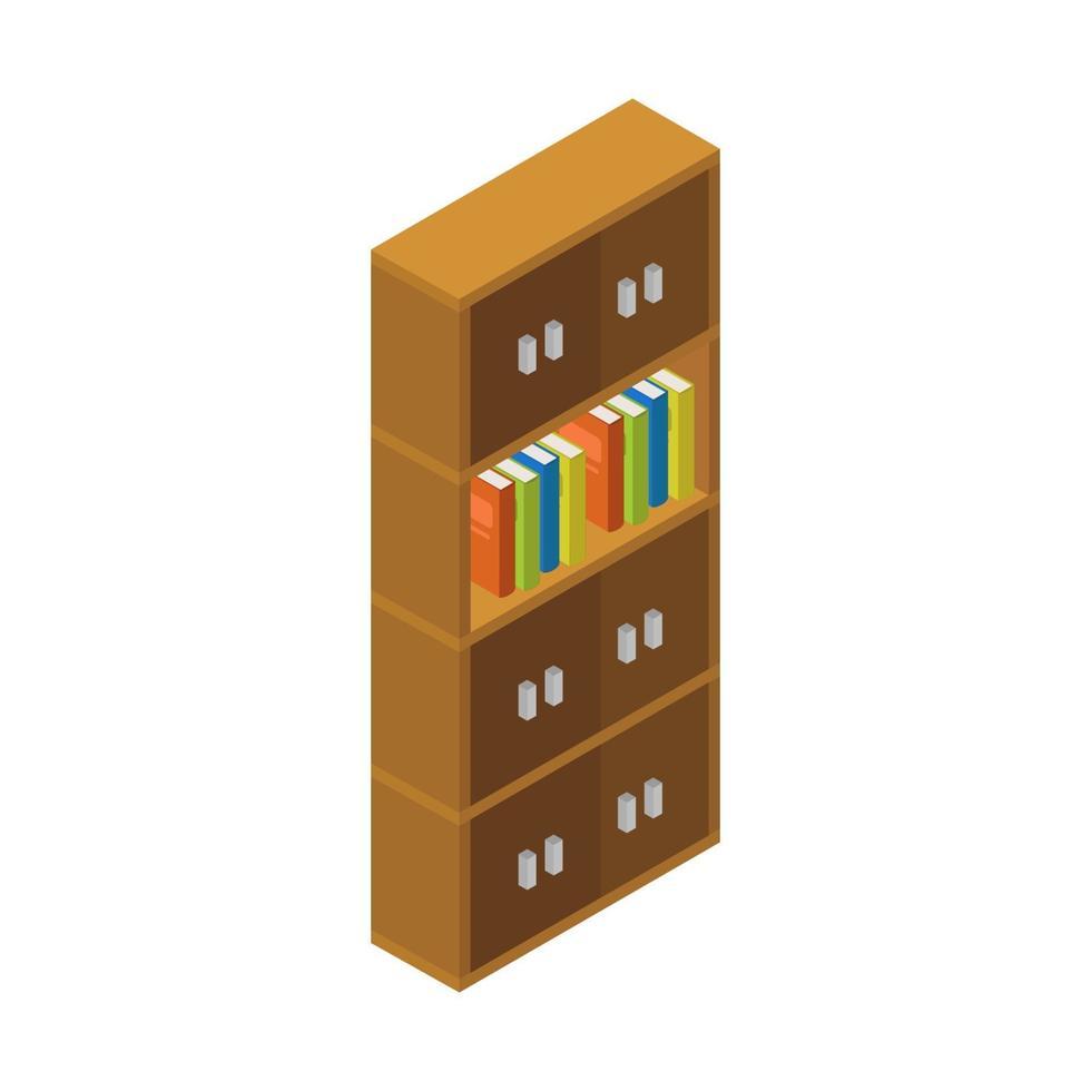 isometrische boekenplank op witte achtergrond vector