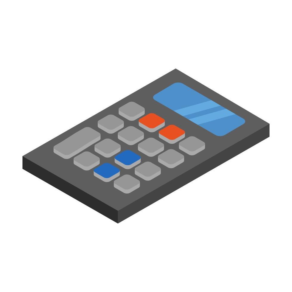 isometrische rekenmachine geïllustreerd op witte achtergrond vector