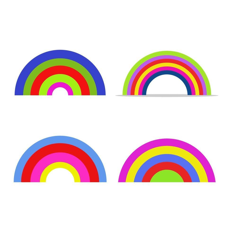 set regenboog op witte achtergrond vector