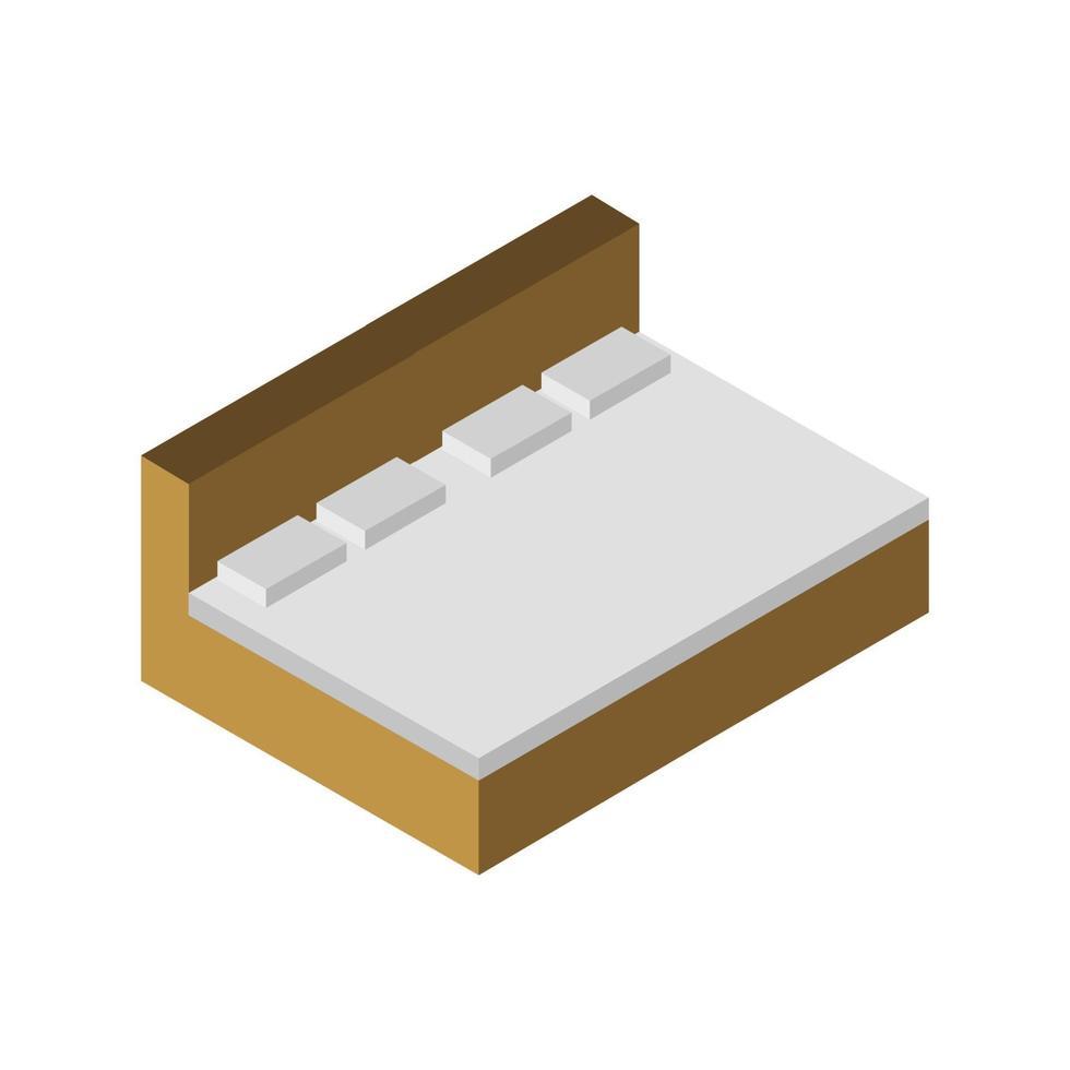 isometrisch bed op witte achtergrond vector