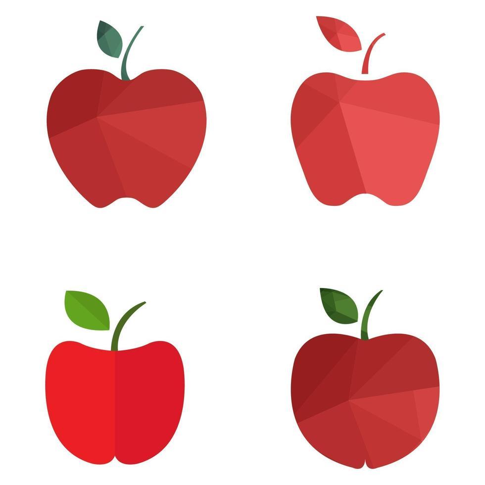appel ingesteld op witte achtergrond vector