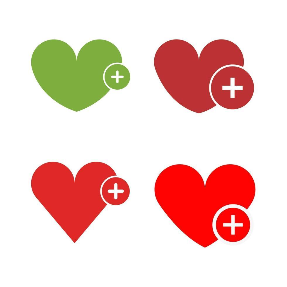 set hart toevoegen op witte achtergrond vector