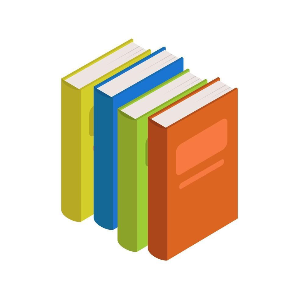 isometrisch boek geïllustreerd op witte achtergrond vector