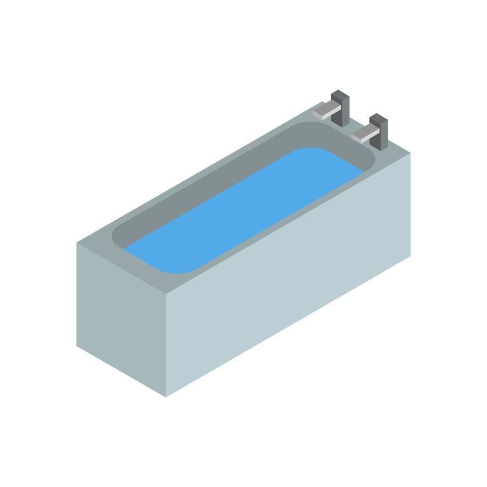 isometrische badkuip op witte achtergrond vector