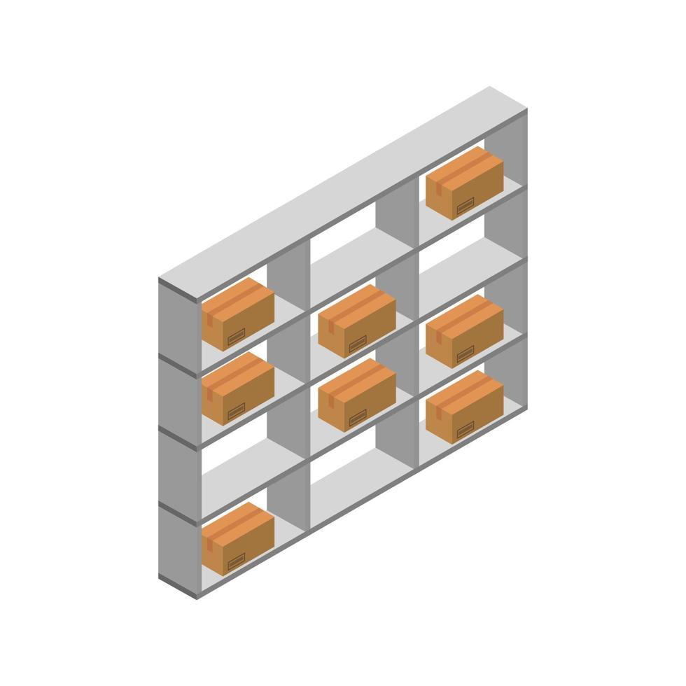 magazijnplank isometrisch op witte achtergrond vector