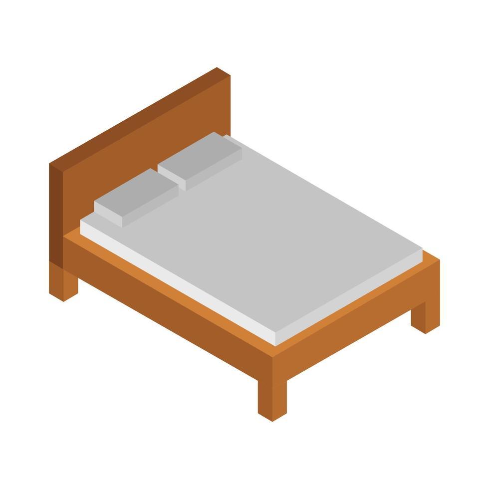 isometrisch bed geïllustreerd op witte achtergrond vector