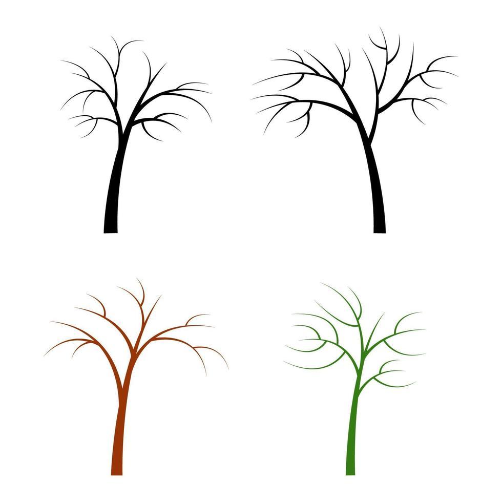 set van droge bomen op witte achtergrond vector