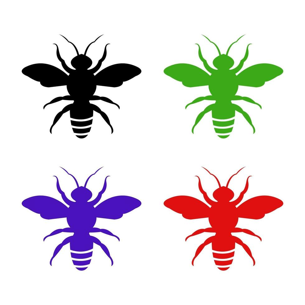 aantal bijen op witte achtergrond vector