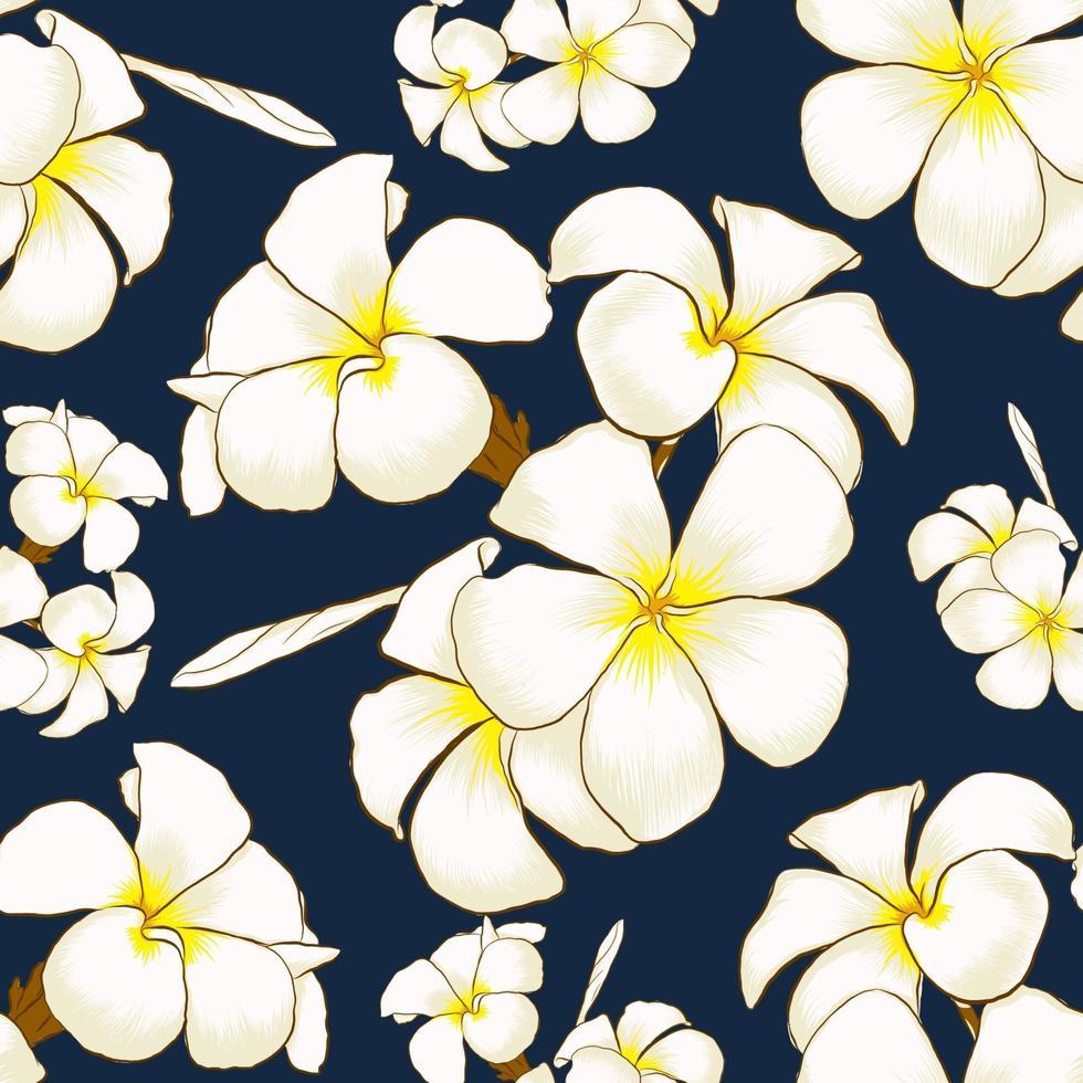 naadloze patroon witte frangipani bloemen donkerblauwe abstracte achtergrond. tekening lijntekeningen. vector illustratie stof textielontwerp