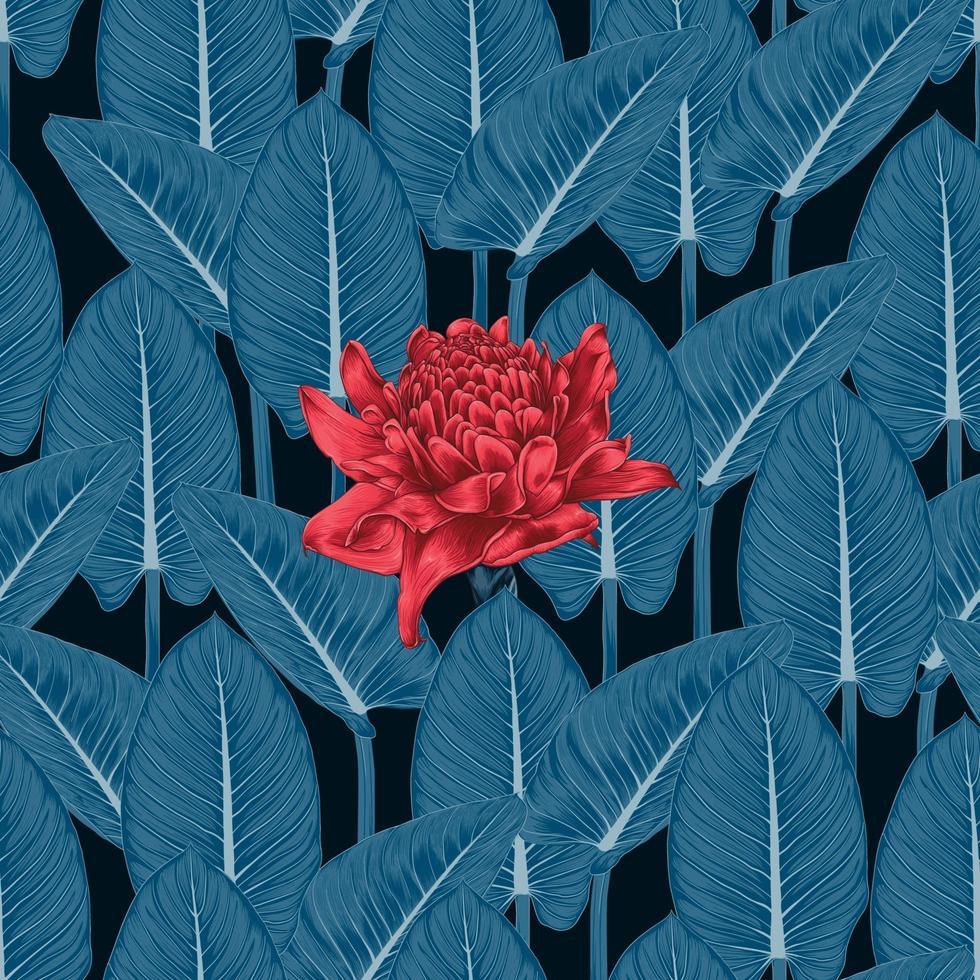 naadloze patroon bloemen met fakkelgember verlaagt en groen ornamentblad op geïsoleerde achtergrond. vector illustratie aquarel hand drawning stijl. voor stof textuur ontwerp