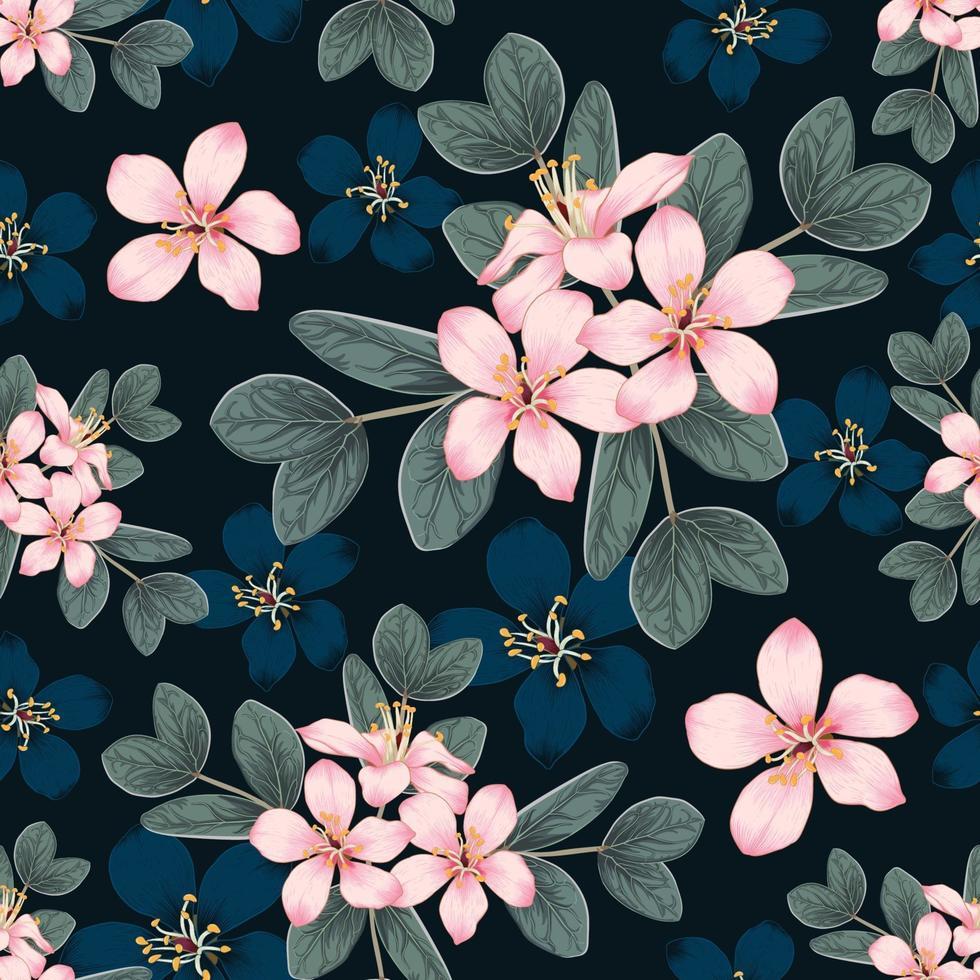 naadloze patroon roze wilde bloemen op geïsoleerde zwarte achtergrond. vector illustratie hand tekenen lijntekeningen. voor stofontwerp.