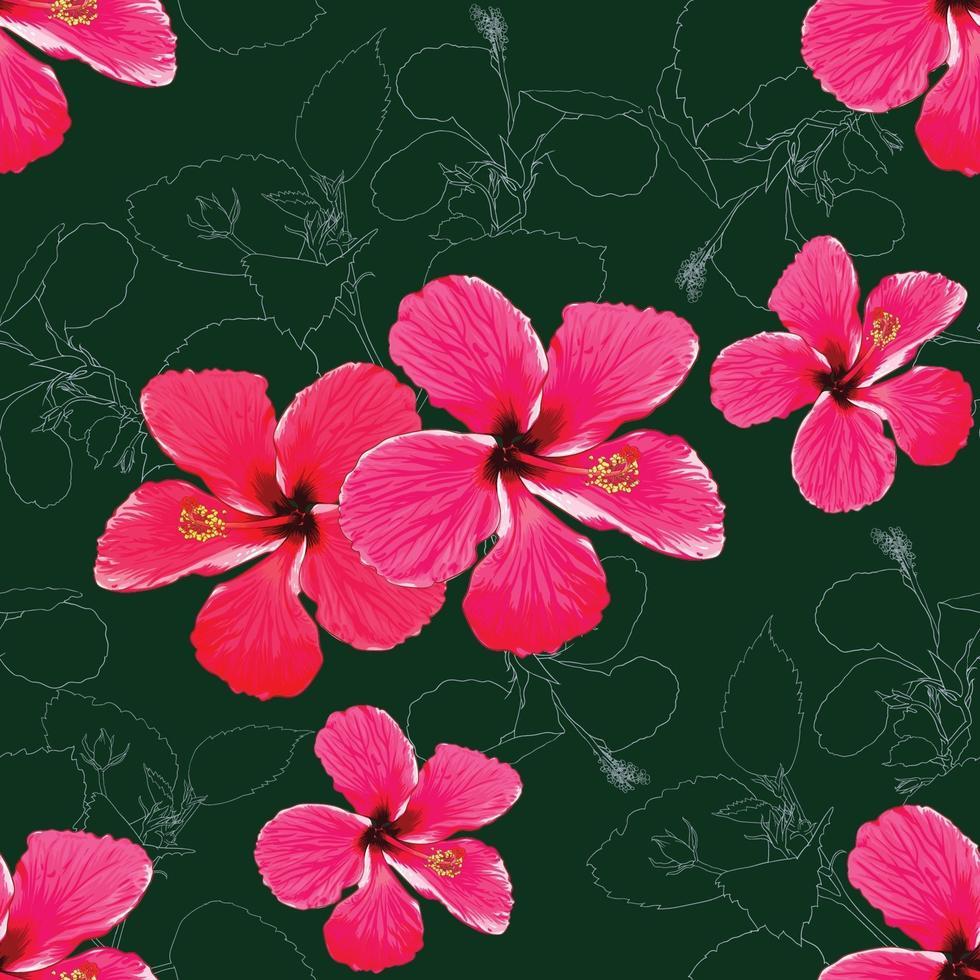 naadloze patroon tropische zomer met roze-rode hibiscus bloemen op abstracte groene achtergrond. vector illustratie hand tekenen aquarel stijl. voor stofontwerp.