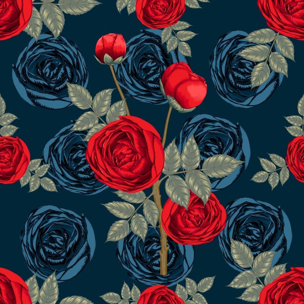 naadloze patroon mooie rood roze bloemen op donkerblauwe abstracte achtergrond. vector illustratie droge aquarel hand tekenen lijn kunststijl. voor stofontwerp