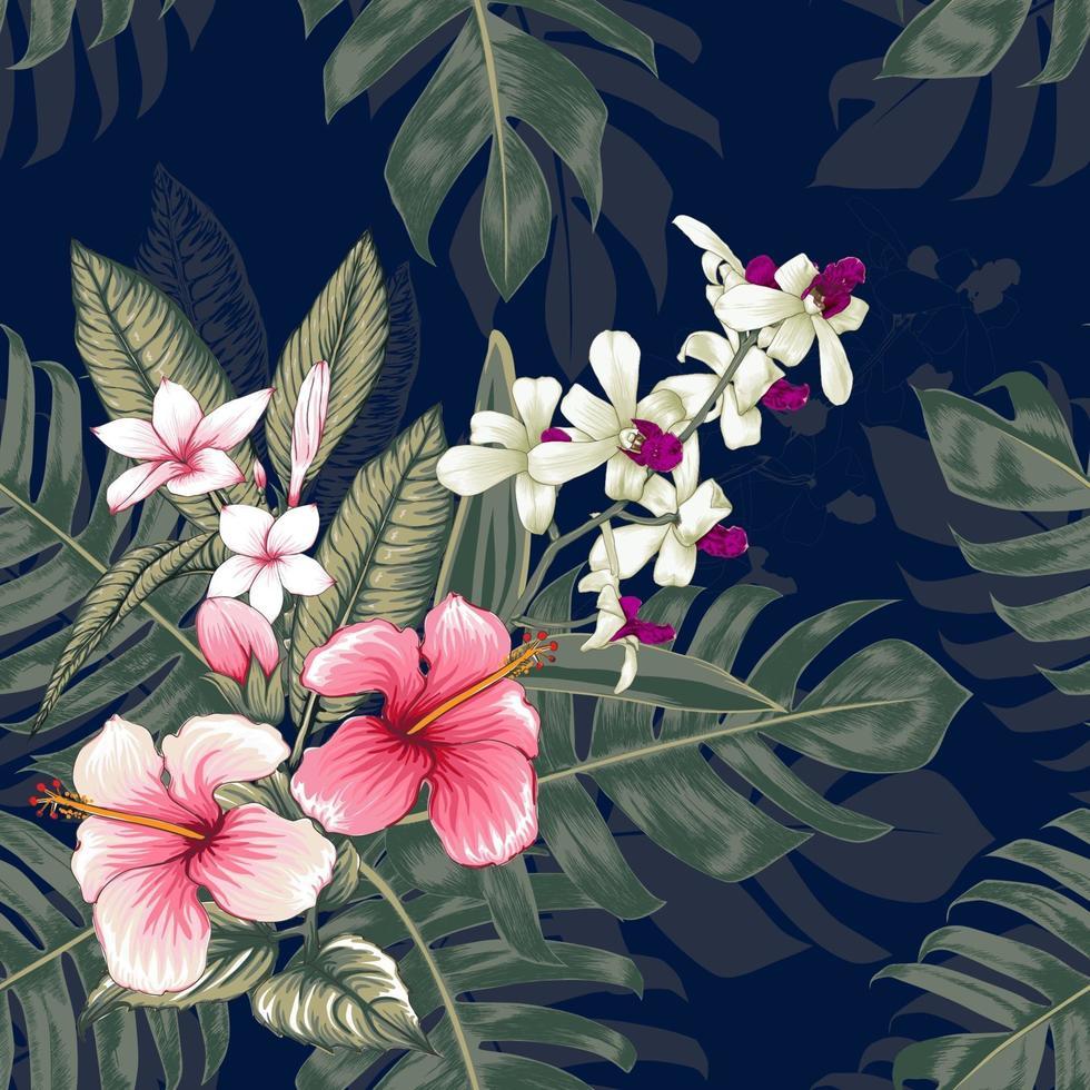 naadloze bloemmotief roze hibiscus, frangipani en orchideebloemen op donkerblauwe abstracte achtergrond. vector illustratie aquarel hand drawning.