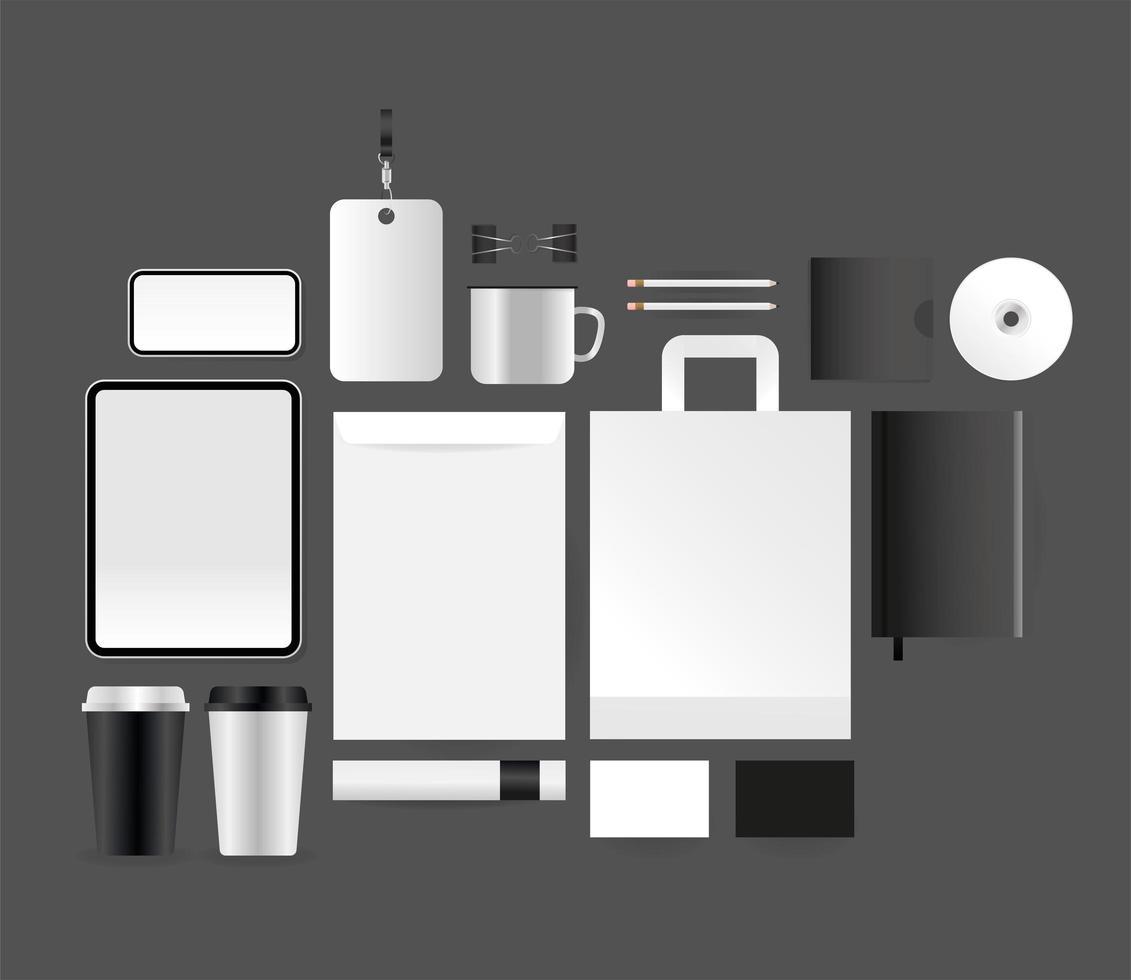 sjabloon voor modern briefpapier en gadgets vector