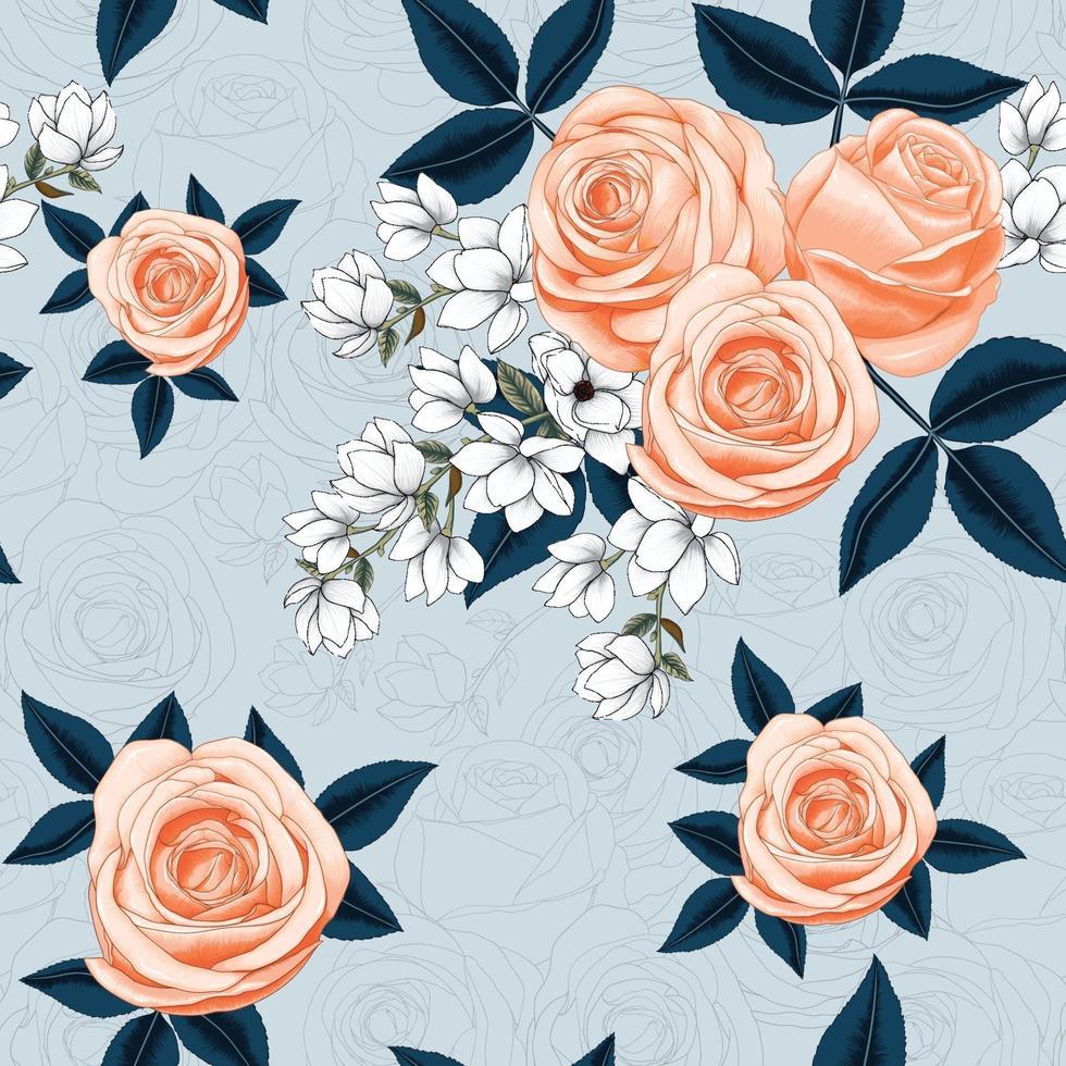 naadloze patroon mooie roze roos en witte magnolia bloemen op abstracte achtergrond. vector illustratie droge aquarel hand tekenen lijn kunststijl.