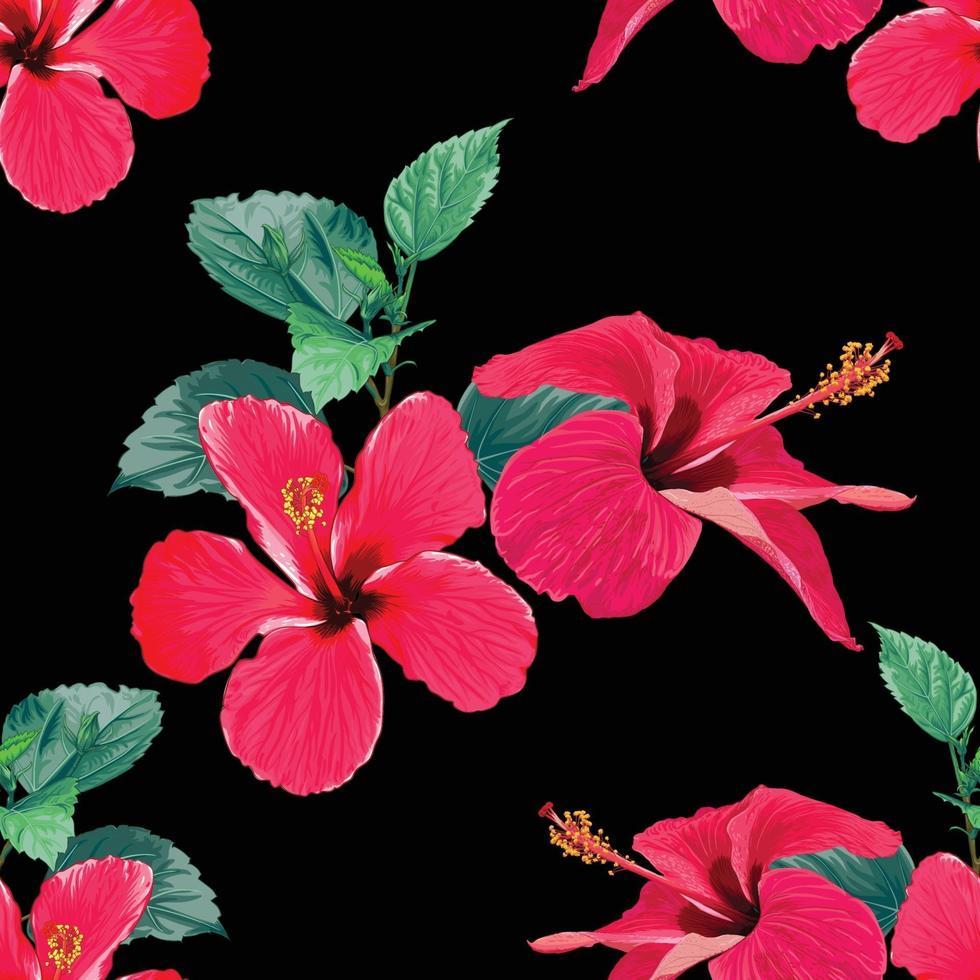 naadloze patroon tropische zomer met rode hibiscus bloemen op geïsoleerde zwarte achtergrond. vector illustratie hand tekenen aquarel stijl. voor stofontwerp.