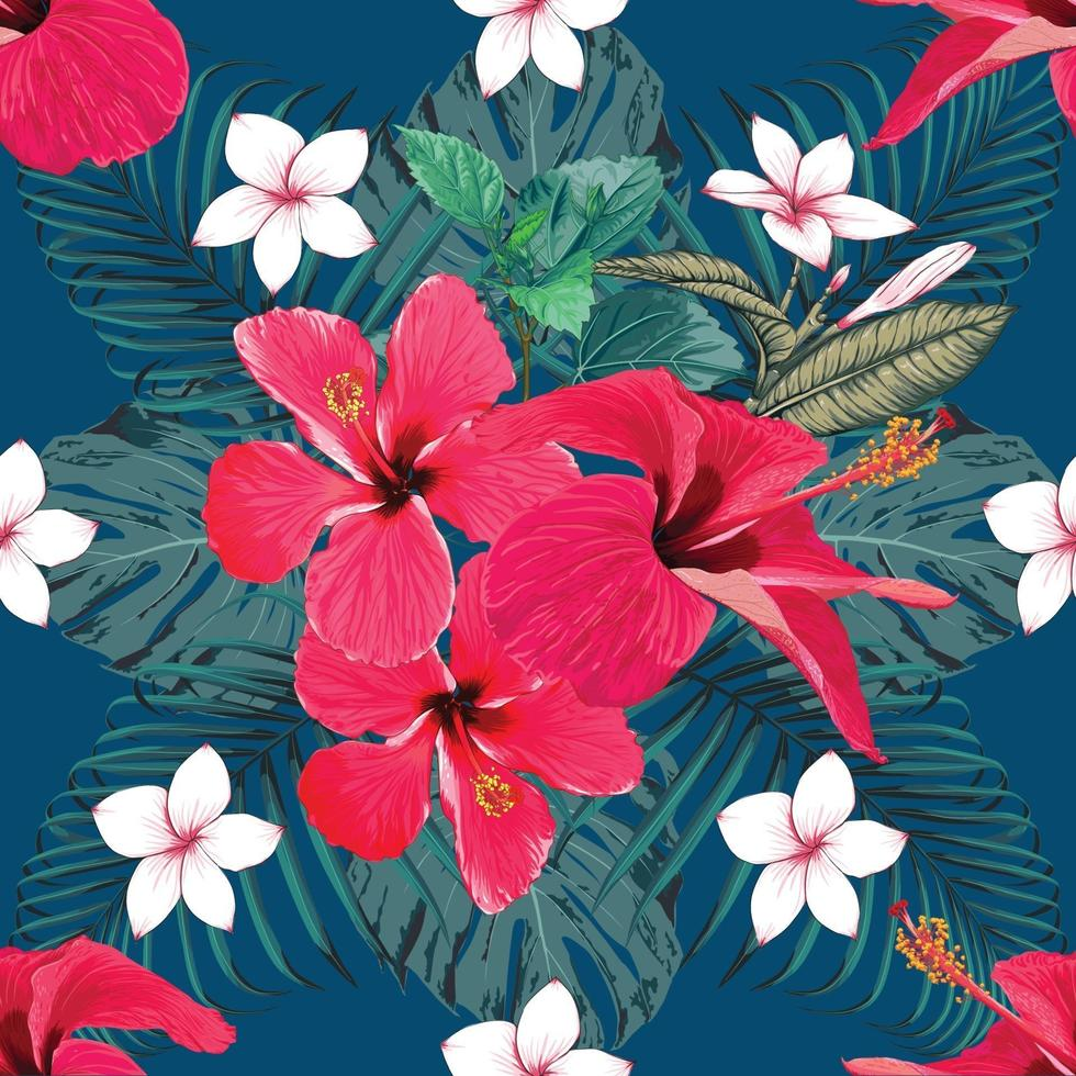 naadloze patroon tropische zomer met rode hibiscus en frangipani bloemen abstracte achtergrond. vector illustratie hand tekenen aquarel stijl. voor stofontwerp.