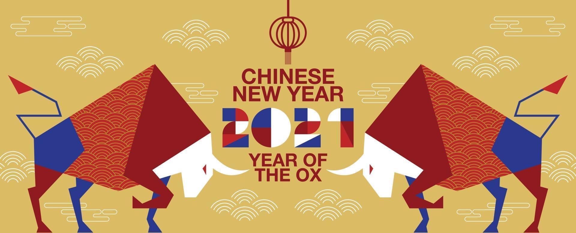gelukkig nieuwjaar, chinees nieuwjaar, 2021, jaar van de os, stripfiguur, plat ontwerp vector