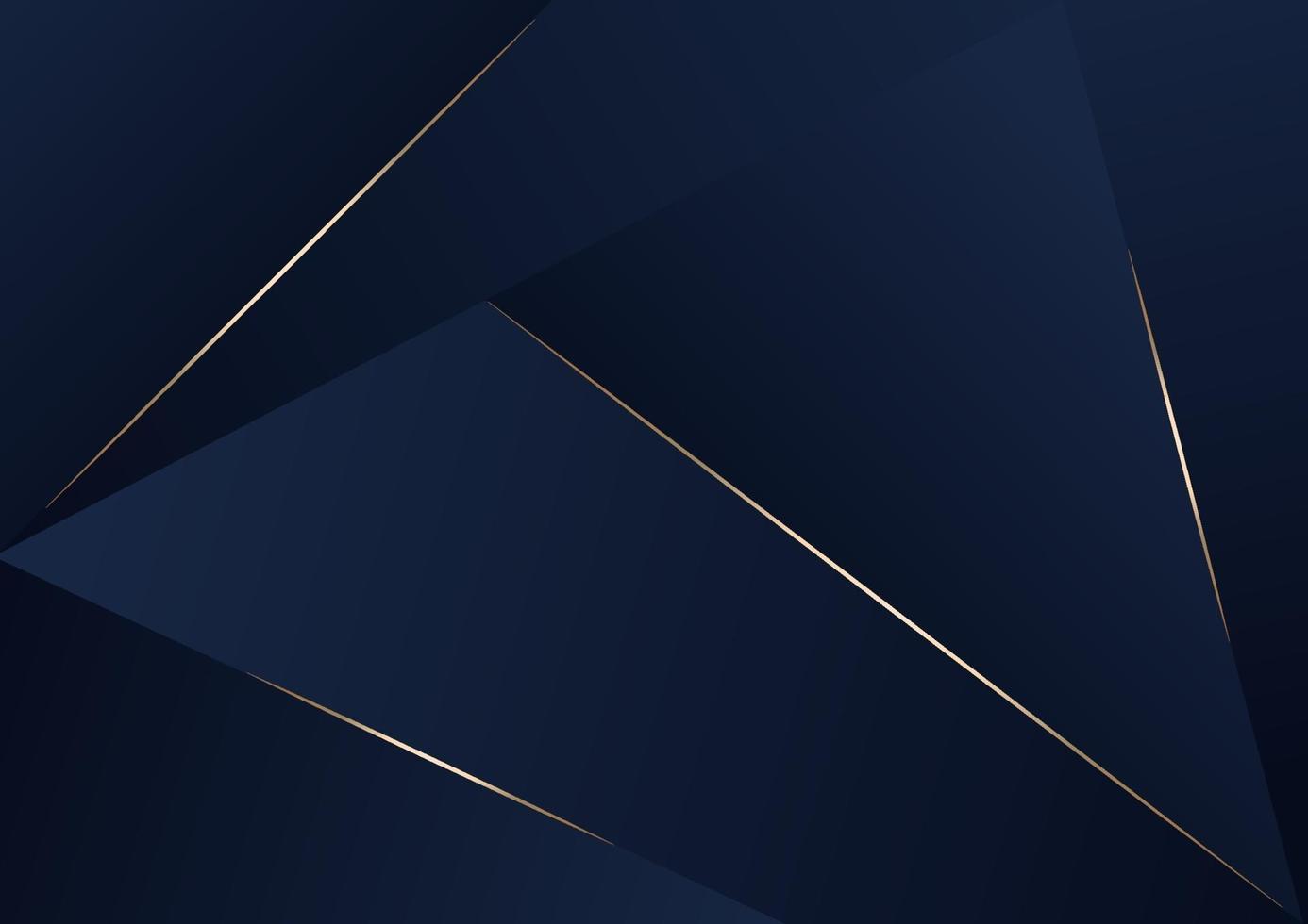 abstracte donkerblauwe luxe premium achtergrond met luxe driehoeken patroon en gouden verlichtingslijnen. vector