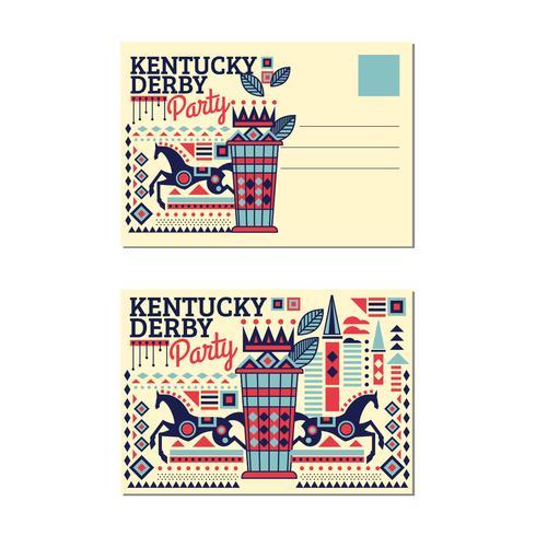 Ansichtkaart Kentucky Derby met Mint Julep met vlakke stijl vector