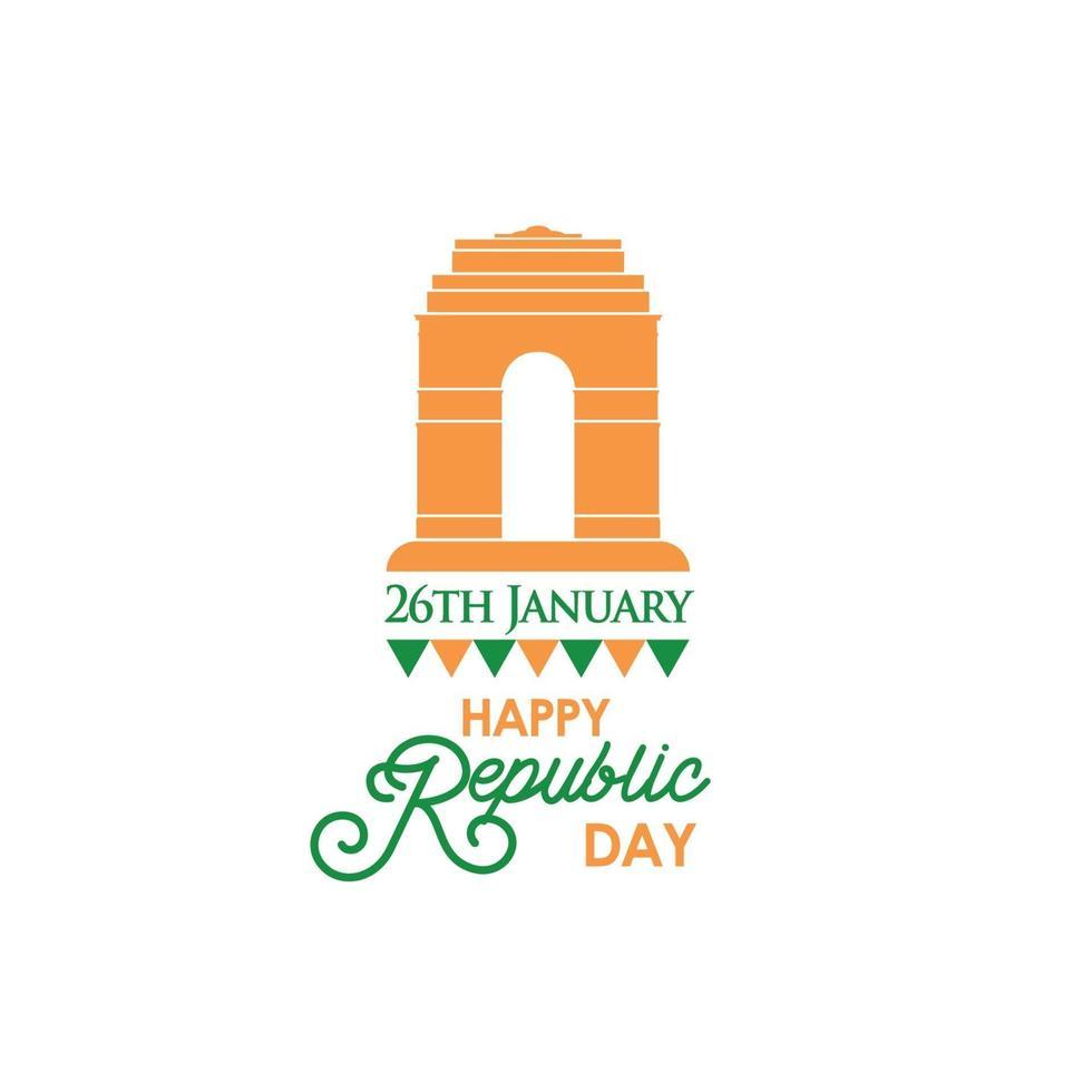 gelukkige dag van de Indiase republiek banner met tekst 26 januari en Indiase poort. vector