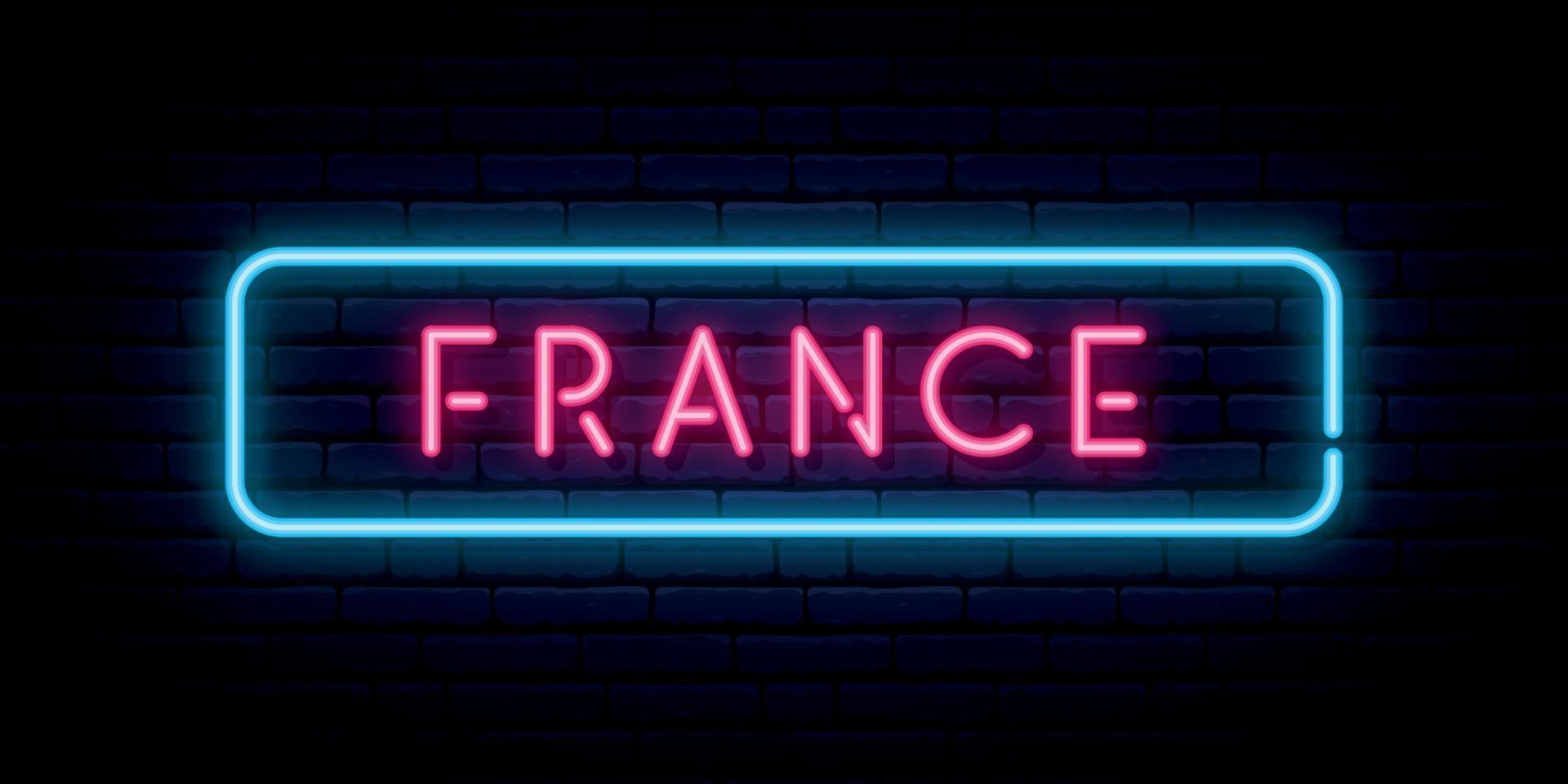 Frankrijk neon teken. helder licht uithangbord. vector