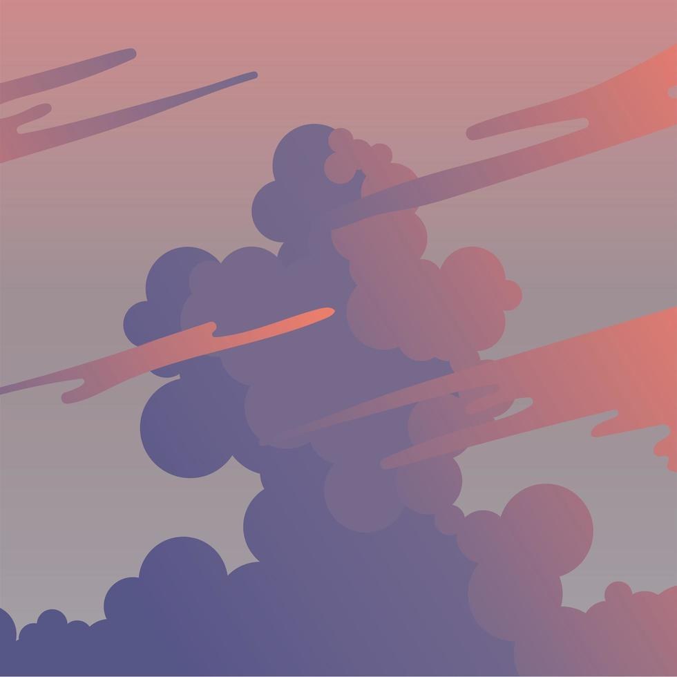 wolken op paarse en roze hemelachtergrond vector