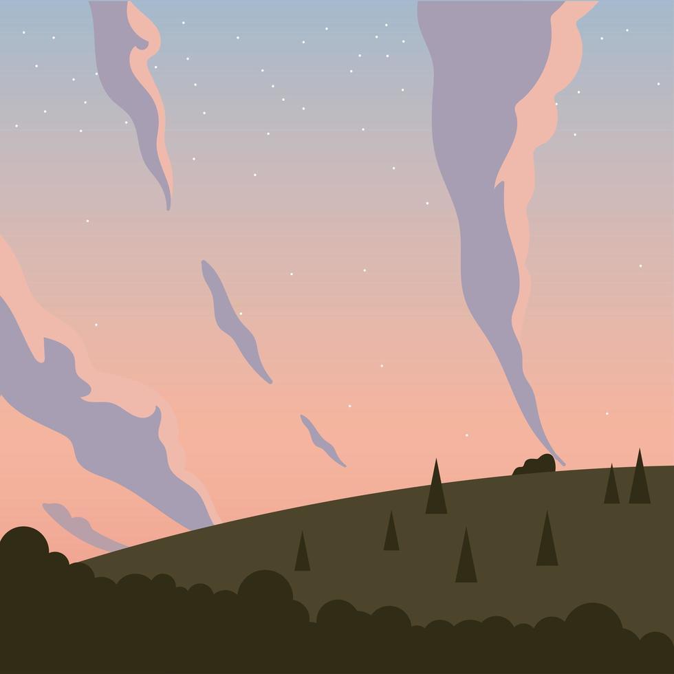 pijnbomen, bergen en hemel met sterrenachtergrond vector