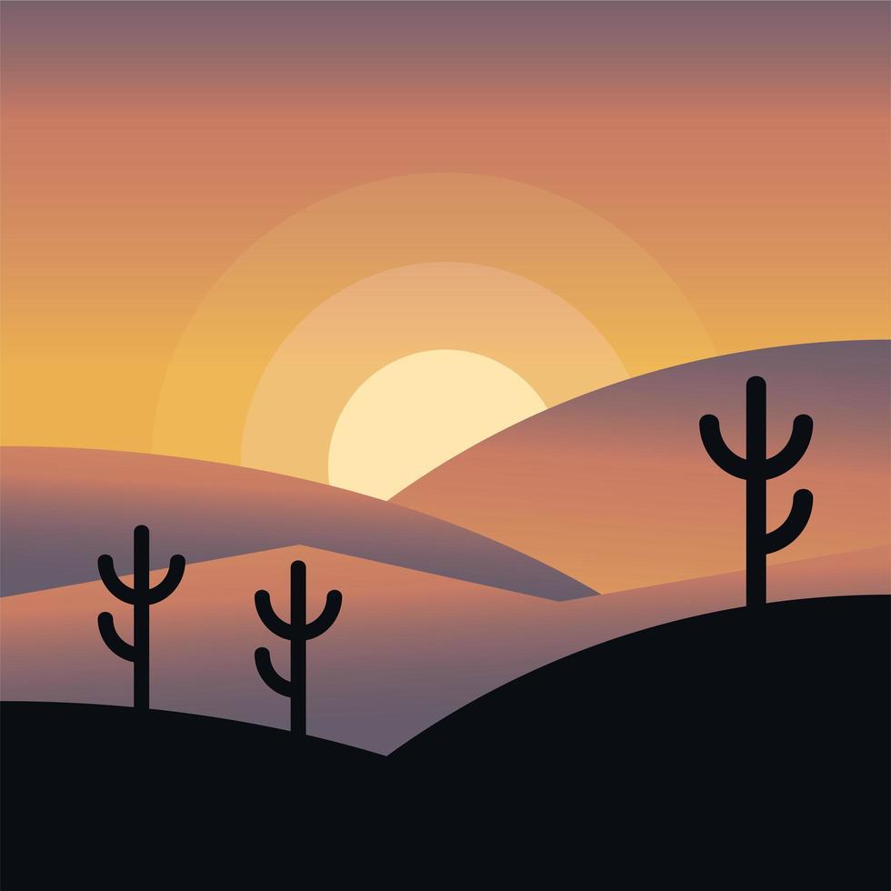 cactus op de achtergrond van het bergsilhouet vector