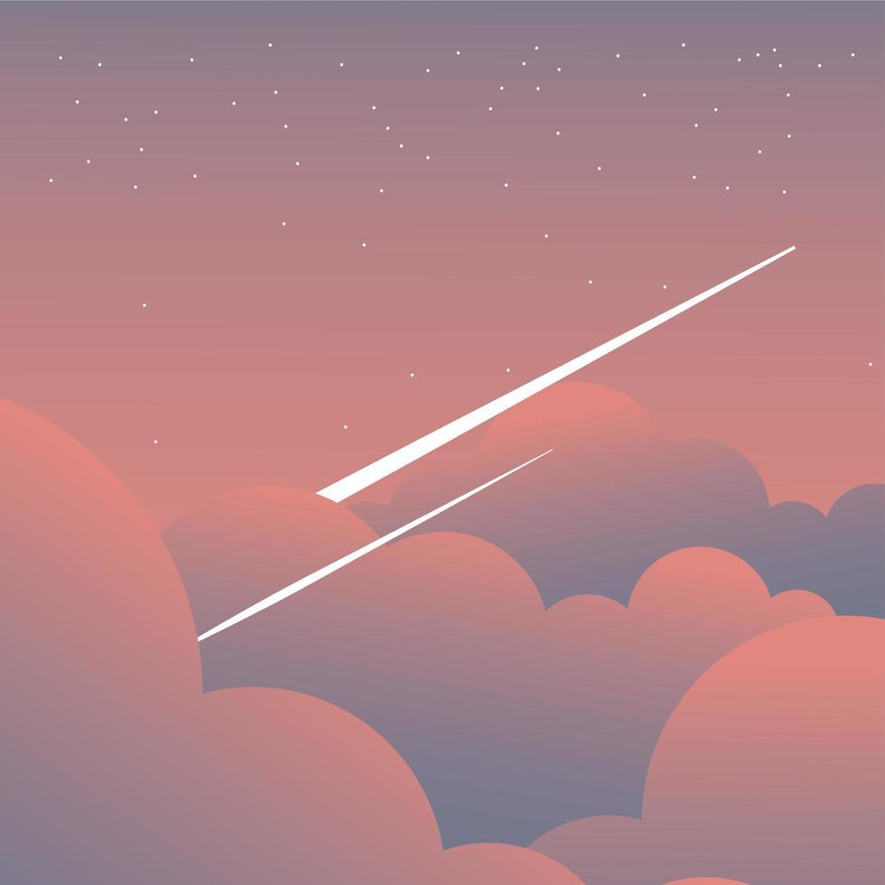 roze wolken op hemel met vallende sterren achtergrond vector
