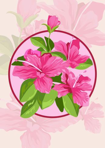 Azalea bloemen en bladeren vector
