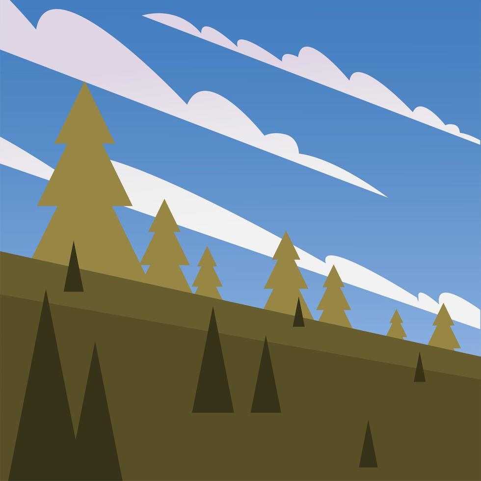 pijnbomen voor een blauwe hemel met wolken achtergrond vector