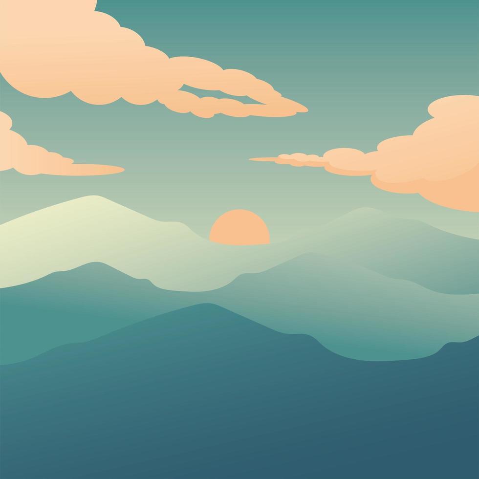 zon en bergen met wolkenachtergrond vector