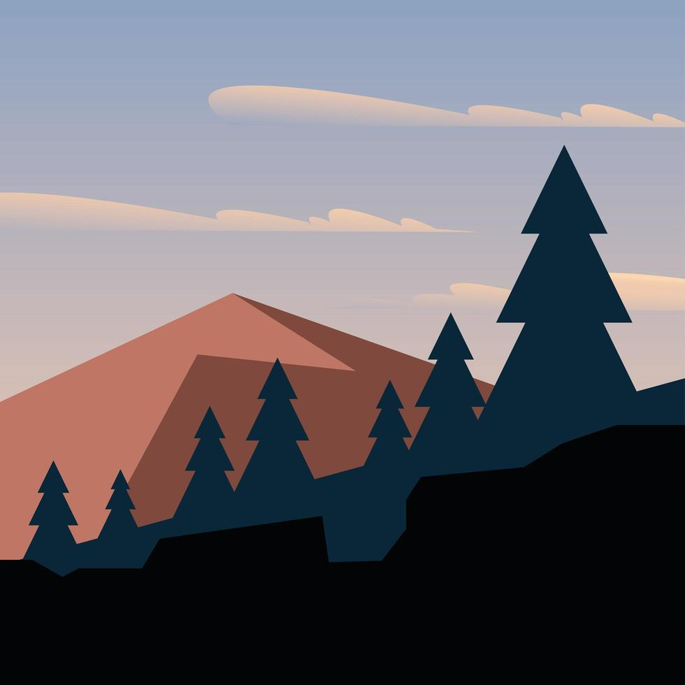 pijnbomen voor bergen en blauwe hemel met wolken achtergrond vector