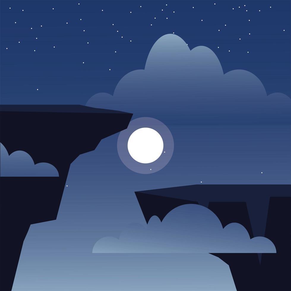 kliffen en wolken en nacht met maanachtergrond vector