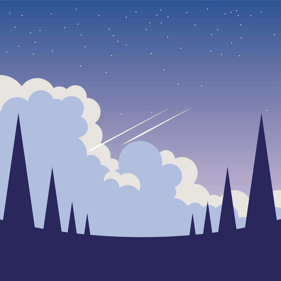 pijnbomen voor een nachtelijke hemelachtergrond vector