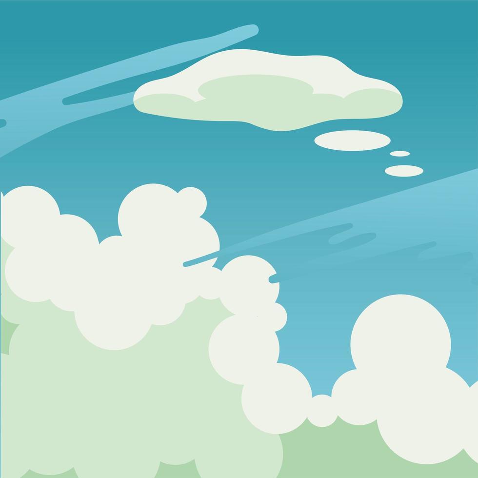 wolken op blauwe hemelachtergrond vector