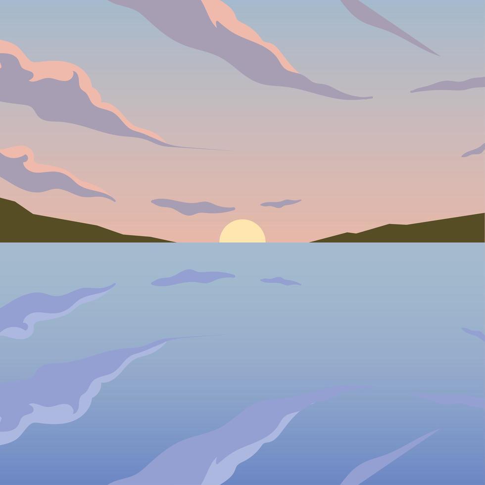zon tussen bergen en zee achtergrond vector