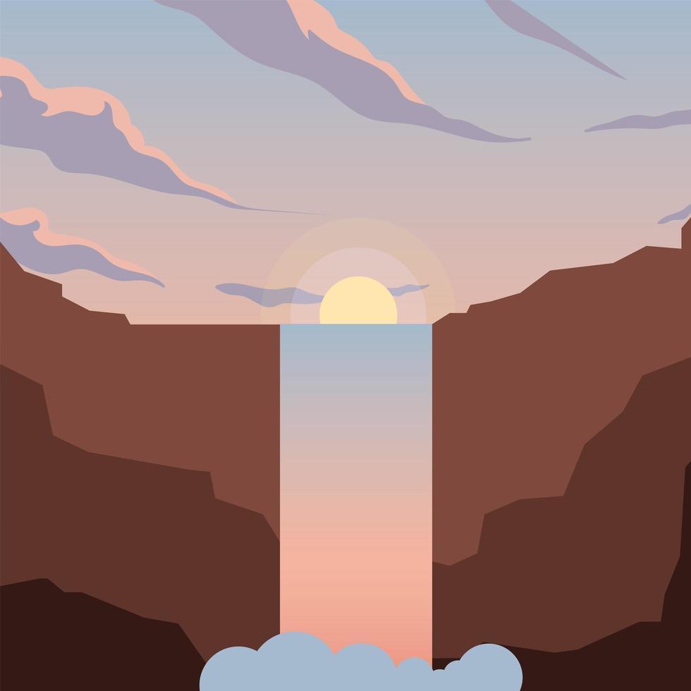 zon en waterval berg achtergrond vector