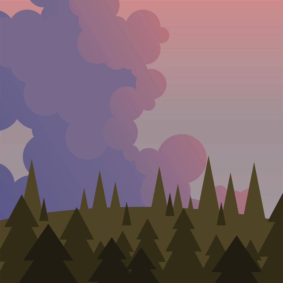 landschap van pijnbomen en paars hemel vector ontwerp