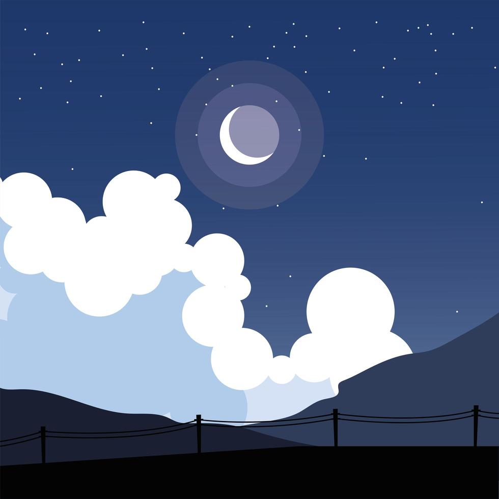 hek silhouet vooraan een nachtelijke hemelachtergrond vector