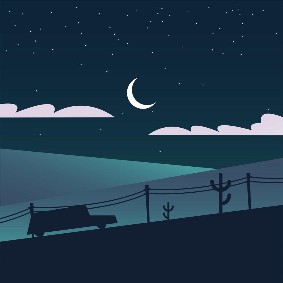 silhouet van een auto en een berg bij nacht achtergrond vector