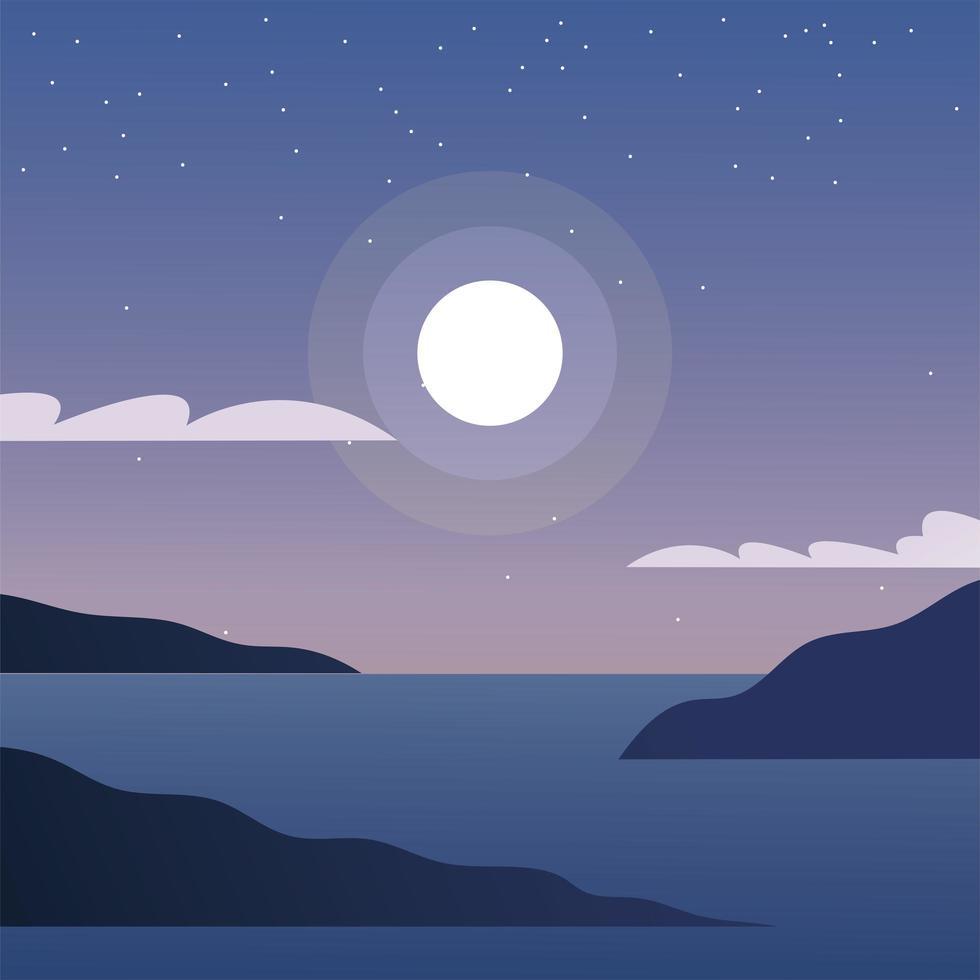 maan over zee achtergrond vector