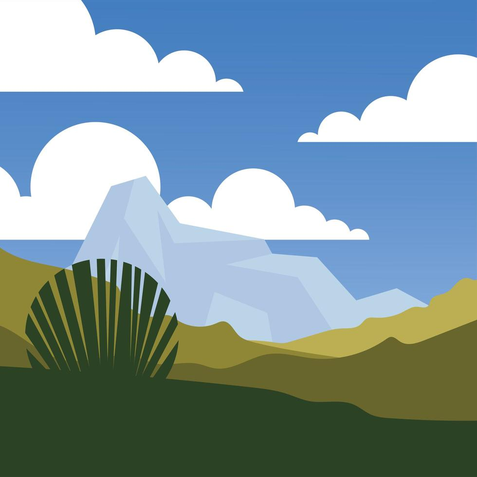 gebladerte en bergen voor een azuurblauwe achtergrond vector