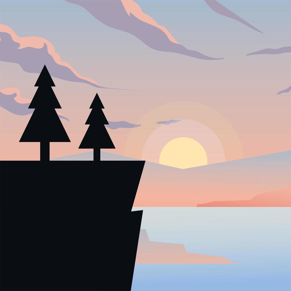 klif met pijnbomen achtergrond vector